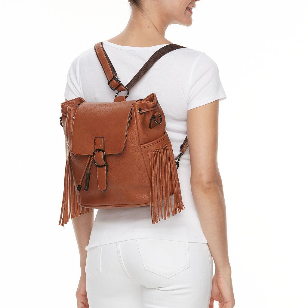 Mellow World Anya Fringe Drawstring Convertible Backpack