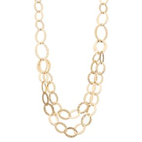 Dana Buchman Long Hammered Marquise Link Swag Necklace