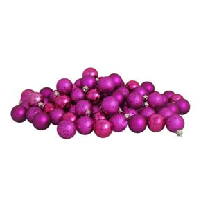 Northlight Magenta Pink Shatterproof Christmas Ornament 60-piece Set