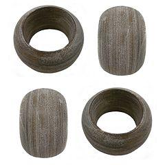 Food Network™ 4-piece White Wash Wood Napkin Ring Set