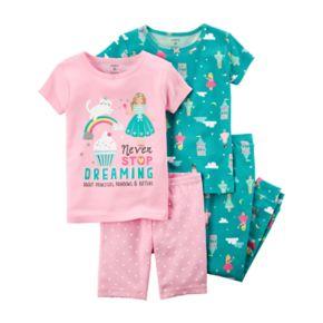 """Toddler Girl Carter's 4-pc.""""Never Stop Dreaming"""" Princess Pajamas Set"""