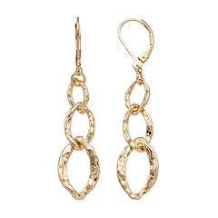 Dana Buchman Hammered Oval Link Linear Earrings