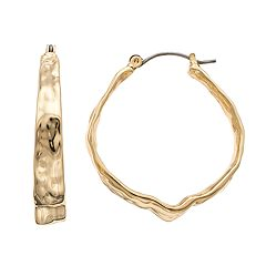 Dana Buchman Hammered Crinkle Hoop Earrings