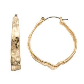 Dana Buchman Hammered Crinkle Hoop Earrings
