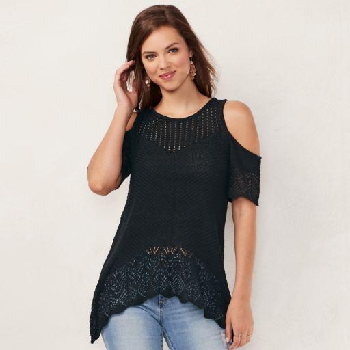 Women's LC Lauren Conrad Crochet Cold-Shoulder Sweater