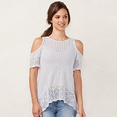Women's LC Lauren Conrad Crochet Cold-Shoulder Sweater
