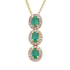 Emerald & 1/3 Carat T.W. Diamond 14k Gold Oval Halo 3-Stone Pendant Necklace