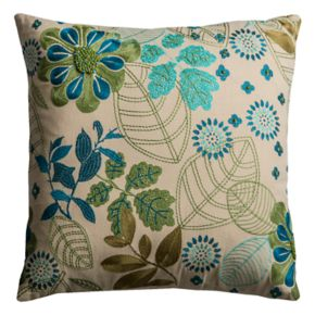 Rizzy Home Flowers & Leaves Throw Pillow