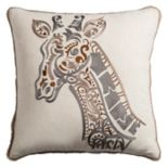 Rizzy Home Embroidered Giraffe Throw Pillow