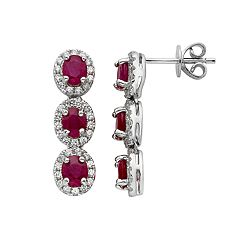 Ruby & 5/8 Carat T.W. Diamond 14k White Gold Oval Halo 3-Stone Drop Earrings