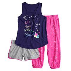 Girls 4-14 & Plus Size SO® Tank Top, Shorts & Jogger Pants Pajama Set