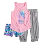 Girls 4-14 & Plus Size SO® Tank Top, Shorts & Jogger Pants Pajama Set