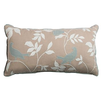 Rizzy Home Embroidered Bird Oblong Throw Pillow