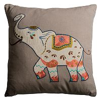 Rizzy Home Elephant Applique Throw Pillow