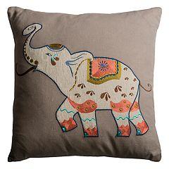 Rizzy Home Elephant Applique Throw Pillow