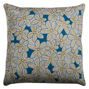 Rizzy Home Blue Floral Throw Pillow