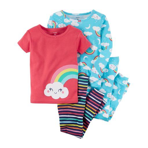 Toddler Girl Carter's 4-pc. Rainbows & Clouds Pajamas Set