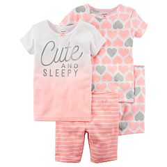 Toddler Girl Carter's 'Cute & Sleepy' Heart Tops & Bottoms Pajama Set