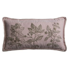 Rizzy Home Embroidered Leaves Oblong Throw Pillow