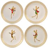 Certified International Gold Dancing Reindeer 4-pc. Dessert Plate Set