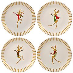 Certified International Gold Dancing Reindeer 4 pc Dessert Plate Set