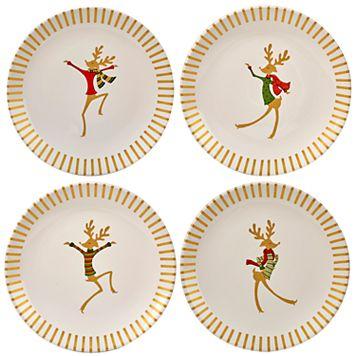 Certified International Gold Dancing Reindeer 4-pc. Dessert Plate Set