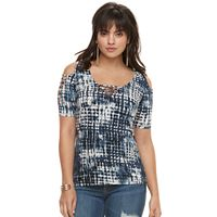 Women's Rock & Republic® Strappy Cold-Shoulder Tee