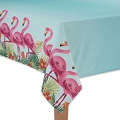 Celebrate Summer Together Flamingo Boarder Tablecloth