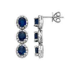 Sapphire & 5/8 Carat T.W. Diamond 14k White Gold Oval Halo 3-Stone Drop Earrings