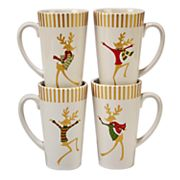 Certified International Gold Dancing Reindeer 4 pc Latte Mug Set