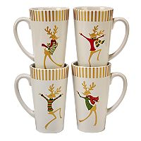 Certified International Gold Dancing Reindeer 4-pc. Latte Mug Set