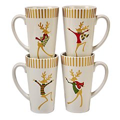 Certified International Gold Dancing Reindeer 4 pc Latte Mug Set