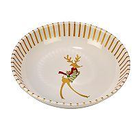 Certified International Gold Dancing Reindeer Serving / Pasta Bowl