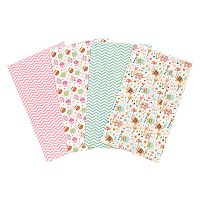 Trend Lab 4 pkElephants & Owls Flannel Burp Cloths