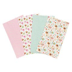 Trend Lab 4-pk. Elephants & Owls Flannel Burp Cloths