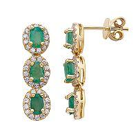 Emerald & 5/8 Carat T.W. Diamond 14k Gold Oval Halo 3-Stone Drop Earrings
