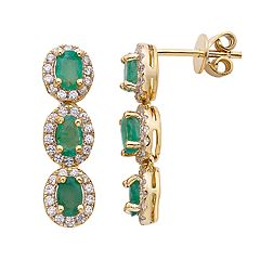 Emerald & 5/8 Carat T.W. Diamond 14k Gold Oval Halo 3-Stone Drop Earrings