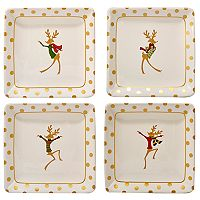 Certified International Gold Dancing Reindeer 4-pc. Canape Plate Set