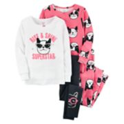 Toddler Girl Carter's 4-pc. Boston Terrier Dog Pajamas Set