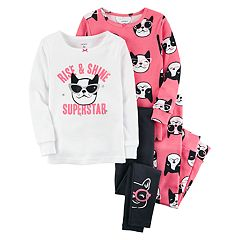 Toddler Girl Carter's 4 pc Boston Terrier Dog Pajamas Set