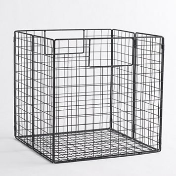 Linon Folding Metal Storage Basket