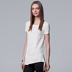 Women's Simply Vera Vera Wang Raw-Edge High Low Tee