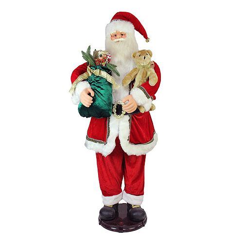 faux fur animated musical santa christmas decor