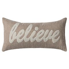 Rizzy Home 'Believe' Applique Oblong Throw Pillow