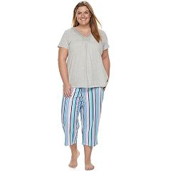 Plus Size Croft & Barrow® Pajamas: Island Getaway Lace Tee & Capris PJ Set