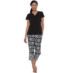 Women's Croft & Barrow® Pajamas: Island Getaway Lace Tee & Capris PJ Set