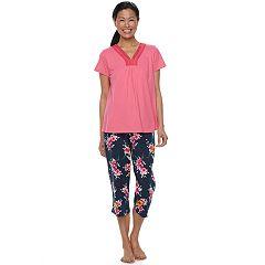 Women's Croft & Barrow® Pajamas: Island Getaway Lace Tee & Capris PJ Set