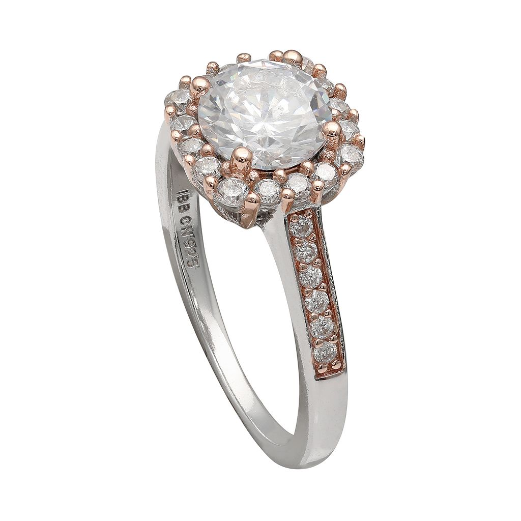 PRIMROSE Two Tone Sterling Silver Cubic Zirconia Square Halo Ring