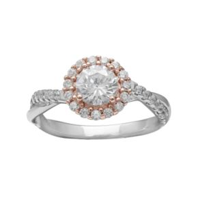 PRIMROSE Two Tone Sterling Silver Cubic Zirconia Halo Twist Ring