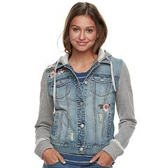 Juniors' Mudd® Floral Knit-Sleeve Denim Jacket